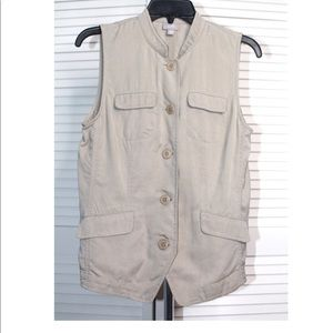 NWT J.Jill Button front pockets Safari Vest